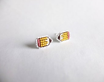 Pencil cross stitch earrings, gifts for teachers, back to school, gifts for writers, yellow pencil, gifts for artists