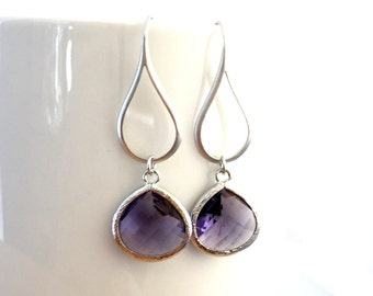 Amethyst, Emerald Earrings, Purple, Wedding Earrings,Bridal Jewelry, Green,Drop, Dangle,bridesmaid gifts, Christmas Gifts