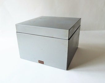 Vintage Metal File, Weis File Organizer, Heavy Duty Gray Metal File Box, Large Index Card File, 5 x 8  Recipe Card, Industrial File Box