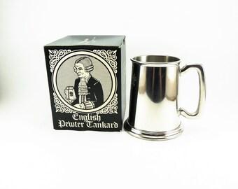 Vintage English Pewter Tankard, Made in Sheffield England, Pewter Beer Mug, Pewter Stein, Beer Tankard, English Beer Mug, River Oaks Mug