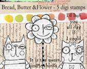 Bread, Butter and Flower - whimsical 5 digi stamp set available for instant download