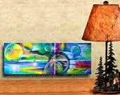 When Planets Collide Colorful Abstract Wood Mounted Canvas Art Decor from an acrylic painting by Sharon Girdwood #47