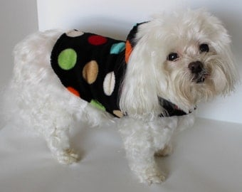 Dots Dog Hoodie, XXS XS S M Lg Multi-color Dots on Black CUDDLE Fleece Fashion Dog Clothes