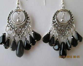 Silver Tone Chandelier Earrings with Black Teardrop Crystal Beads and Black Pearl Beads Dangles