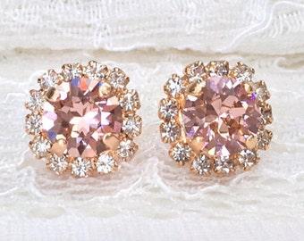 Blush Earrings Blush Bridal Rose Gold Blush Pink Studs Pink Blush Bridesmaids Pink Wedding Blush Swarovski Crystal Blush Bridal Earrings