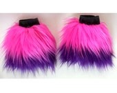 MADE TO ORDER arm wrist cuffs Cheshire cat inspired wrist cuffs faux fur halloween costume pink and purple stripes