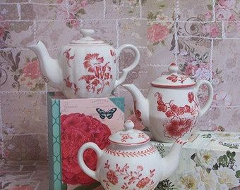 Andrea by Sadek Tea Time Williamsburg Red Vintage Miniature Teapot for one