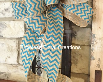 Aqua Blue Chevron ~Burlap Wired Edge Ribbon Bow for Wreath, Swag, Lantern~Timeless Floral Creations~Free Shipping