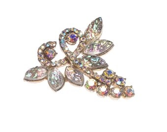 Rhinestone Brooch Grapes Wine Aurora Borealis