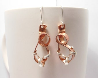 Abstract Copper & Sterling Silver Twisted Ribbon-look Earring Pair