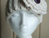 Cream Coloured Crocheted Ear Warmer/Headband with Huge Flower