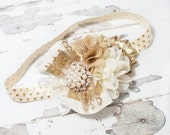 Heart of Gold - headband in cream/ivory and gold with metallic gold heart elastic and plenty of glitter and sparkle