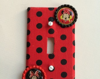 Light Switch Cover, Minnie Mouse Bedroom Decor, Polka Dot Bedroom, Minnie Mouse Switch Plate Cover, Red Switch Plate Cover, Black Polka Dots