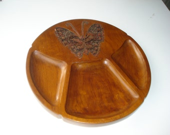 Indonesian Copper Batik Stamp on a Teak Wood Tray - Mid Century Modern - 1960s