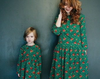 Matching Dresses - Mother and Daughter Matching Dresses - Green Floral Print Dresses - Handmade by OFFON