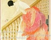 1924 Vogue Flamingo Flamenco Fashionista & Midnight Gypsy Cover Print Feminine Feather Cottage Chic Pastel Pink Dress Powder Room Wall Decor