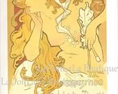 1896 Alphonse Mucha Art Nouveau Salon des Cent Poster and Alfons Maria Sarah Bernhardt Gismonda Theatre de la Renaissance French Panel Print