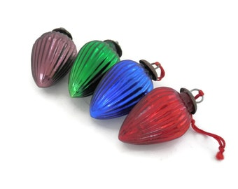 Ribbed Glass Kugel Style Christmas Ornaments Set of 4 Jewel Tone Drops