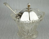 Clear Glass and Silver Chrome Candy Sugar Dish Bowl with Serving Spoon