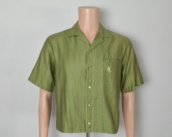 Vintage 1950s 50s Green Hawaiian Shirt Jack Swanky Hollywood