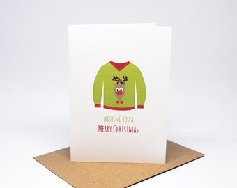 Christmas Card - Ugly Christmas Jumper - XMS038 / Merry Christmas / Happy New Year