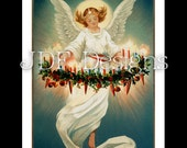 Instant Digital Download, Vintage Victorian Era Graphic, Christmas Angel with Wreath, Candles & Ornaments Antique Print Printable Image