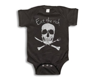 Baby One Piece - Eat The Rich - Baby Clothes - 100% cotton Short Sleeve 6 month to 24 Months - Baby Boy - Baby Girl