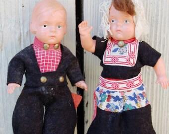 Dutch Boy and Girl dolls. Boy and girl doll set. Vintage Dutch Dolls. Vintage Holland Dolls. Wooden Shoes