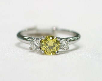 Classic Three Stone Yellow Diamond Engagement Ring