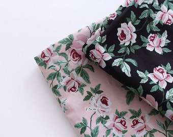 Semi-sheer Cotton Fabric - Roses Cotton Fabric - Pink or Black - 57 Inches Wide - By the Yard 88443