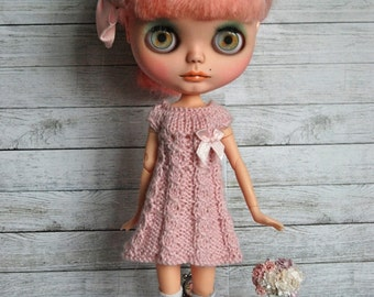 Blythe Doll Knitted Alpaca and Silk  Dress - Valentine's Day