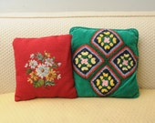 PAIR Vintage Throw Pillows Flowers Needlepoint Square Crochet Green Velvet