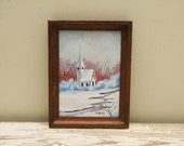 Original Painting Country Church Snowy Woods Landscape Signed