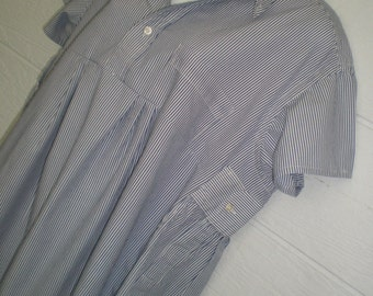 TUNIC style blouse, upcycled mens shirt, navy blue white pinstripe, XL XXL 54 inch chest, loose shirt, short sleeve, ladies top, maternity