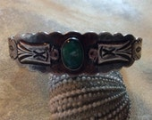 Circa 1920 Handmade Fred Harvey Coin Silver & Natural Turquoise Thunderbird Bracelet