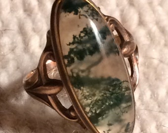 Vintage Mossy Agate & 10k Gold Ring  - Size 3 1/2