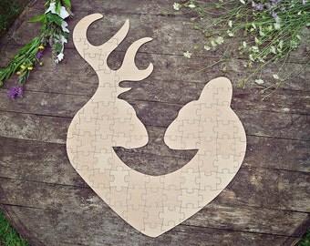Deer Puzzle Guest Book, Deer Wedding Guestbook Puzzle, Wedding Guest Book Puzzle, Deer Puzzle Guest book, Wood Puzzle Guestbook, Deer Puzzle