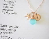 4 Bridesmaid Necklace Rose Gold Personalized Starfish, Bridesmaid Gift, Beach Wedding, Pink Gold, Gemstone, Initial jewelry, Thank you Card