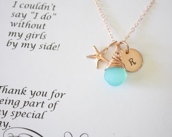 10 Bridesmaid Necklace Rose Gold Personalized Starfish, Bridesmaid Gift, Beach Wedding, Pink Gold, Gemstone, Initial jewelry, Thank you Card