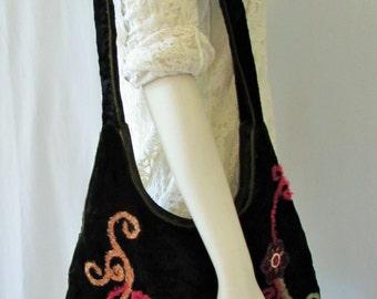Boho Bag Purse SaraJane Original Velvet Embroidered  Lined  Bejeweled