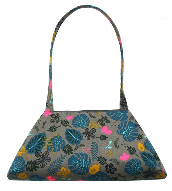 Floral, grey, brights, vintage inspired, retro style, tote