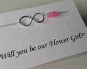 ON SALE - Girl Size - Pink Gemstone and Infinity Bracelet - Flower Girl Necklace, Girl Jewelry, Wedding Gift, Birthday Gift, Bestfriend Gift