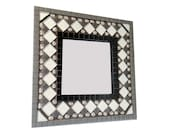 SALE / Black and Gray Mosaic Accent Mirror / Modern Home Decor / Mosaic Mirror