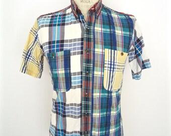 Ralph Lauren Madras Plaid Shirt / vintage Chaps preppy blue white yellow pattern buttondown short sleeve / men's small