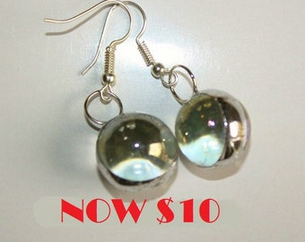Glass Globe Earrings Iridescent Original Handcrafted Jewelry