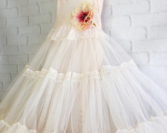 palest blush pink tulle & lace ballerina beach wedding dress by mermaid miss Kristin