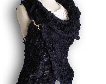 Black  wrap hand knitted vest jacket Black Cardigan Sweater Shrug unusual Sleeveless sweater Shrug