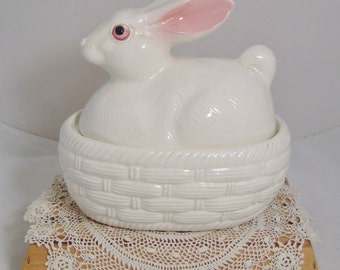 Vintage Ceramic Bunny on Nest Covered Dish