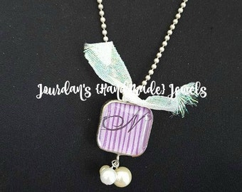 Letter Necklace, Initial Charm, Letter N, Monogram Pendant, Purple Necklace, Hand Soldered Necklace, Monogram Jewelry, Crown Charm Necklace