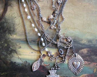 Amazing Multi Strand Repurposed Virgin Mary Necklace with Multiple Medals